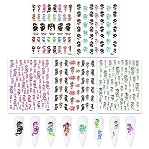 UNIME 5 Sheets Dragon Nail Art Stickers, 3D Nail Art Stickers Decals Fashion Dragon Nail Stickers for Fingernails Decor Manicure Decorations Nail Art Accessories