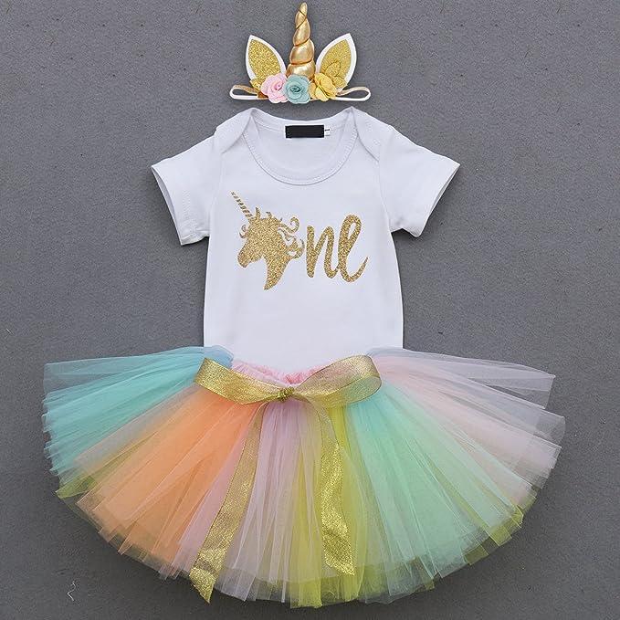 ba425501c81e Amazon.com  3PCS Toddler Baby Girls Unicorn Outfit One Mermaid Romper  Top+Tutu Skirt + Headband Summer Clothes Set  1 Gold+Rainbow  Clothing
