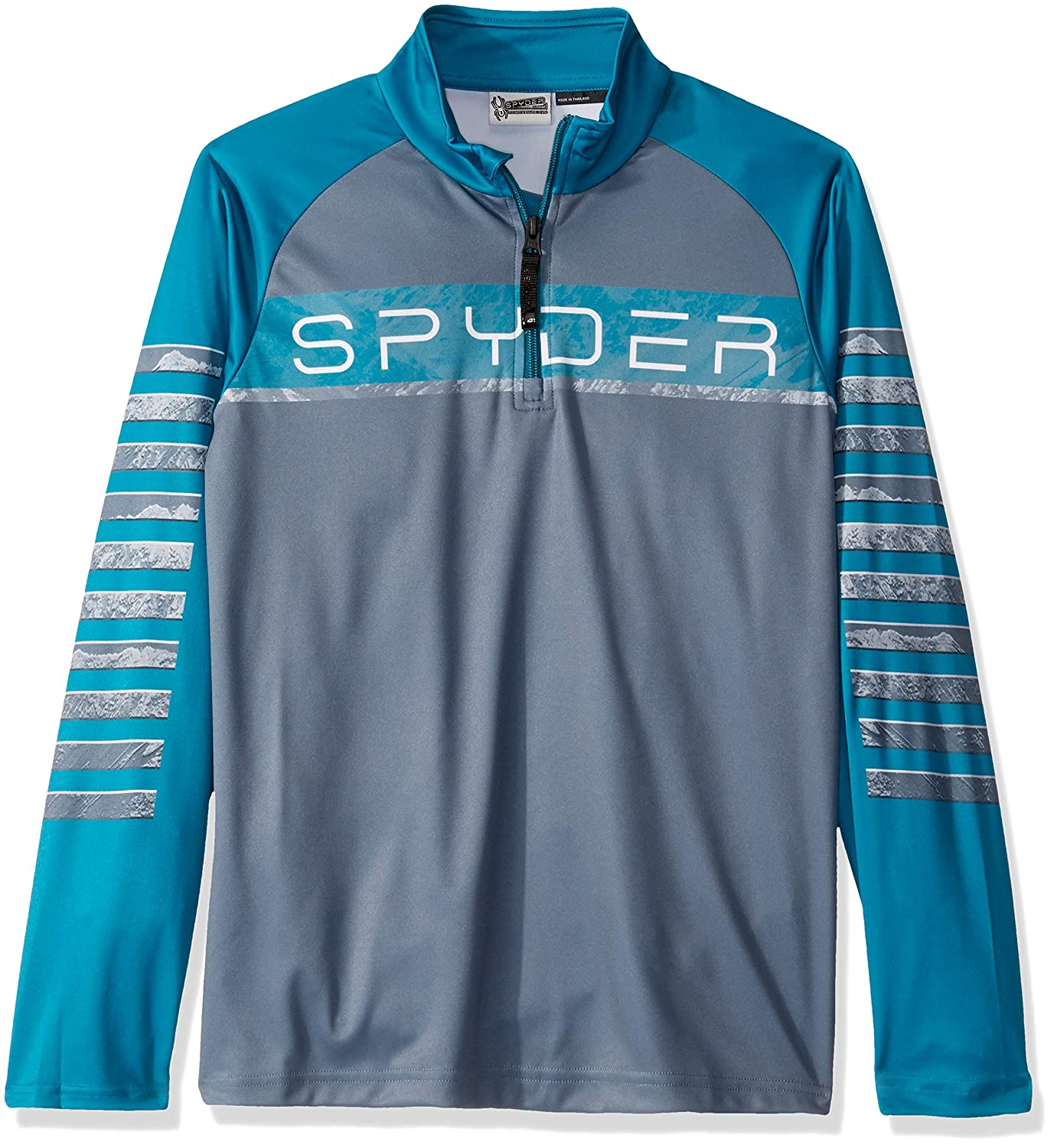 Spyder Active Sports Boys Peak Zip T-Neck, Ebony, Medium