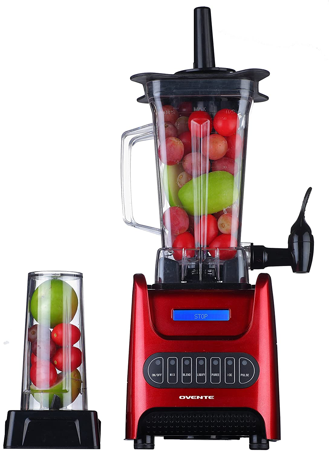 OVENTE BLH1000R Electric Countertop Smoothie Maker Blender with Dispenser, 1000 Watts, Large Jug & Travel Jar, Red