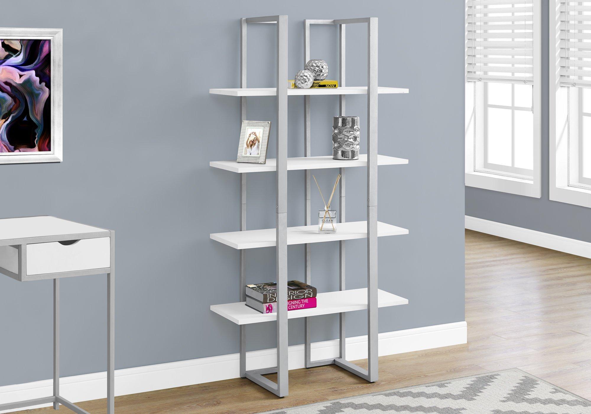Monarch Specialties I 7238 Bookcase-60 H Silver Metal, White