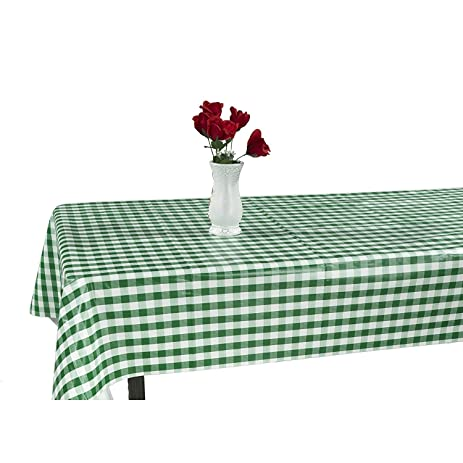 Marvelous Berrnour Home Vinyl Green Checkered Design Indoor/Outdoor Tablecloth With  Non Woven Backing