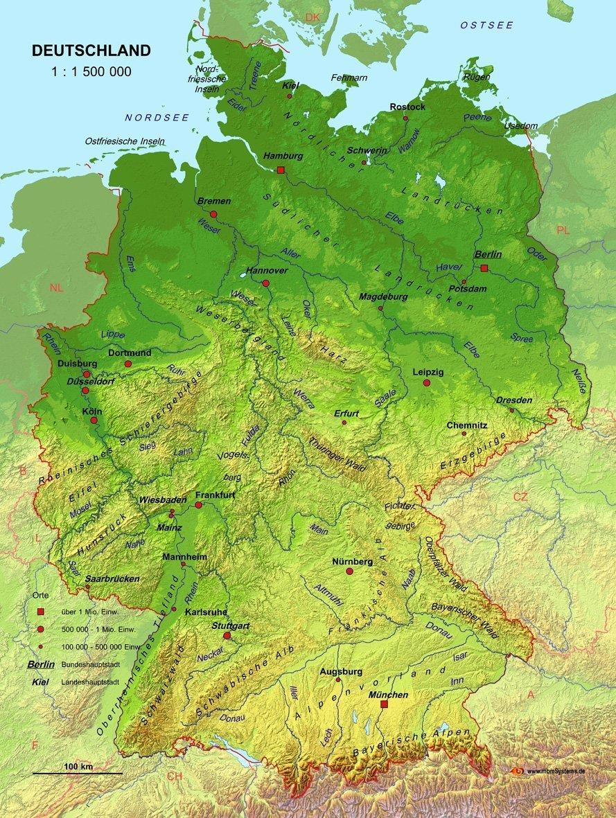3d landkarte deutschland Echt 3D Landkarte Deutschland: Amazon.de: mbmSystems GmbH: Bücher