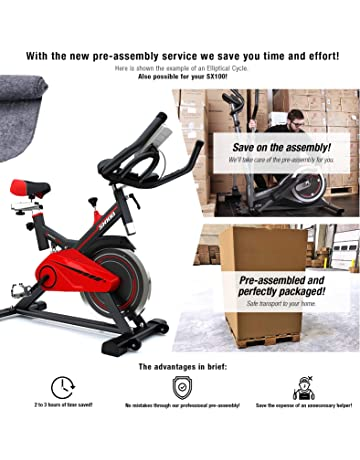 Sportstech professional Indoor Exercise Bike SX100 with 13KG flywheel, padded arm support, comfort seat, hand pulse - Speedbike with low-noise belt drive system - incl. flooring mat, Kinomap & eBook