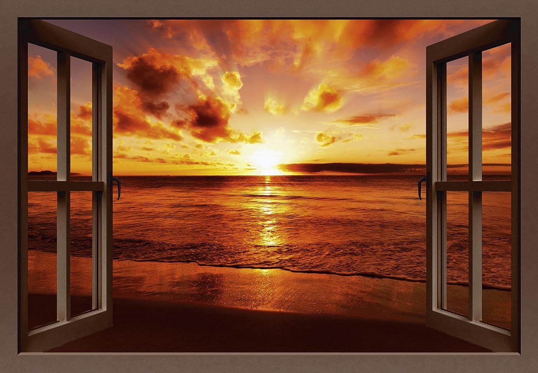 Artland Qualitätsbilder I Bild auf Leinwand Leinwandbilder Wandbilder 70 x 50 cm Landschaften Fensterblick Foto Braun A8LZ Sonnenuntergang Strand