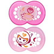 MAM Glow In the Dark Pacifiers, Baby Pacifier 6+ Months, Best Pacifier for Breastfed Babies, 'Night' Design Collection, Girl, 2-Count