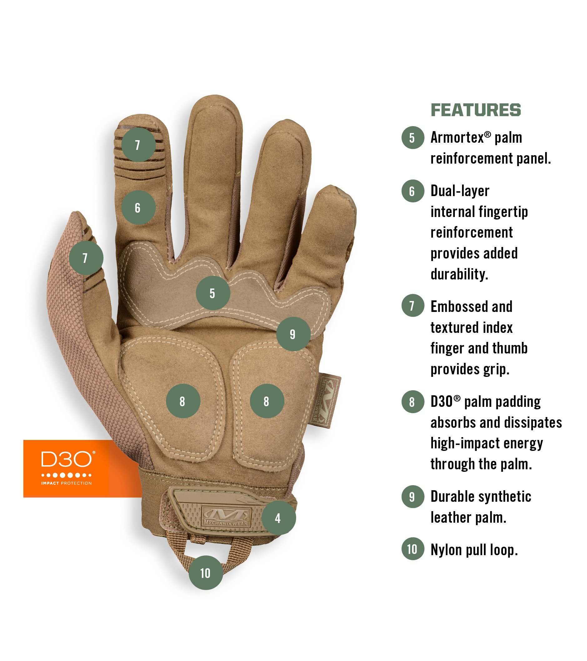 Mechanix Wear - M-Pact Coyote Tactical Gloves (Large, Brown) by Mechanix Wear (Image #3)