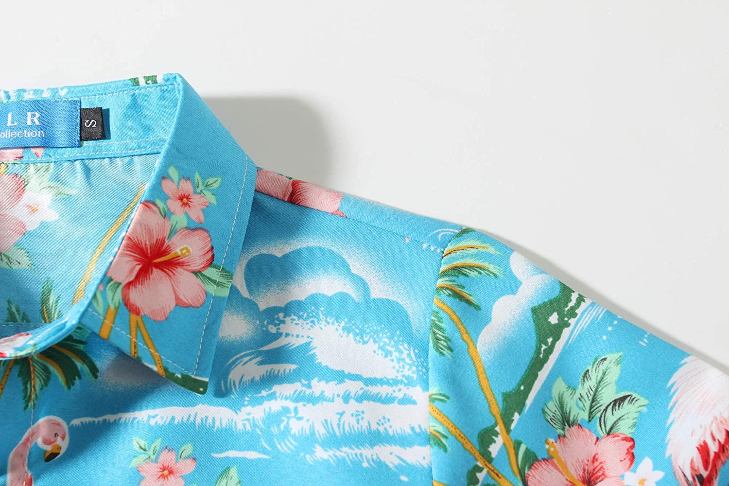 SSLR Big Boys Pink Flamingos Button Down Casual Short Sleeve Hawaiian Shirt