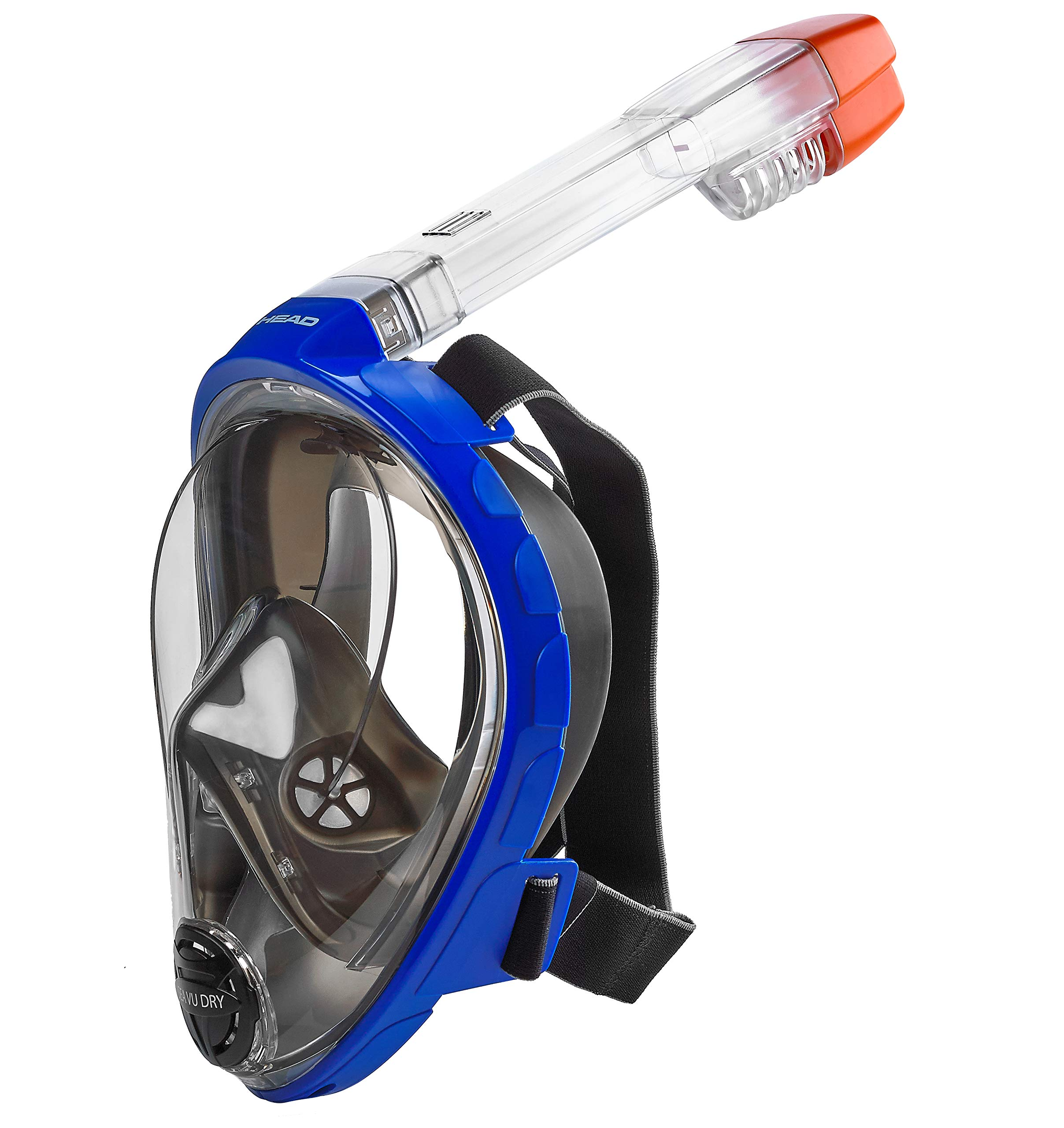 HEAD by Mares Seaview 180° Panoramic View Full Face Snorkeling Mask, Blue/Black Silicone, XS