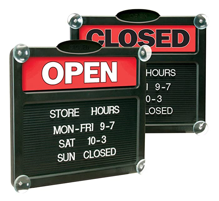"Headline Sign - Double-Sided""Open"" /""Closed"" Sign with Customizable Hours or Message, Includes 3/4"" Characters, 15"" x 13"", Red and Black (3727)"