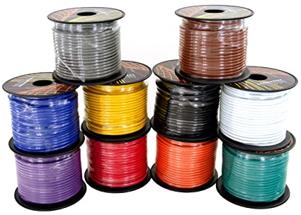 100 ft per Roll 1000 Feet of Total Wire GS Power 14 Gauge Copper Clad Aluminum Primary Cable in 10 Colors Roll Combo Pack | Also Available in 4 /& 6 Rolls Color Set