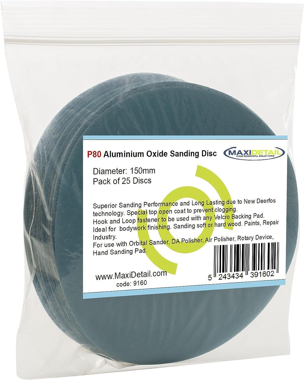 maxidetail ad9160/discos de papel de lija de /óxido de aluminio gancho y bucle lija 150/mm grano P80//Pack de 25/discos