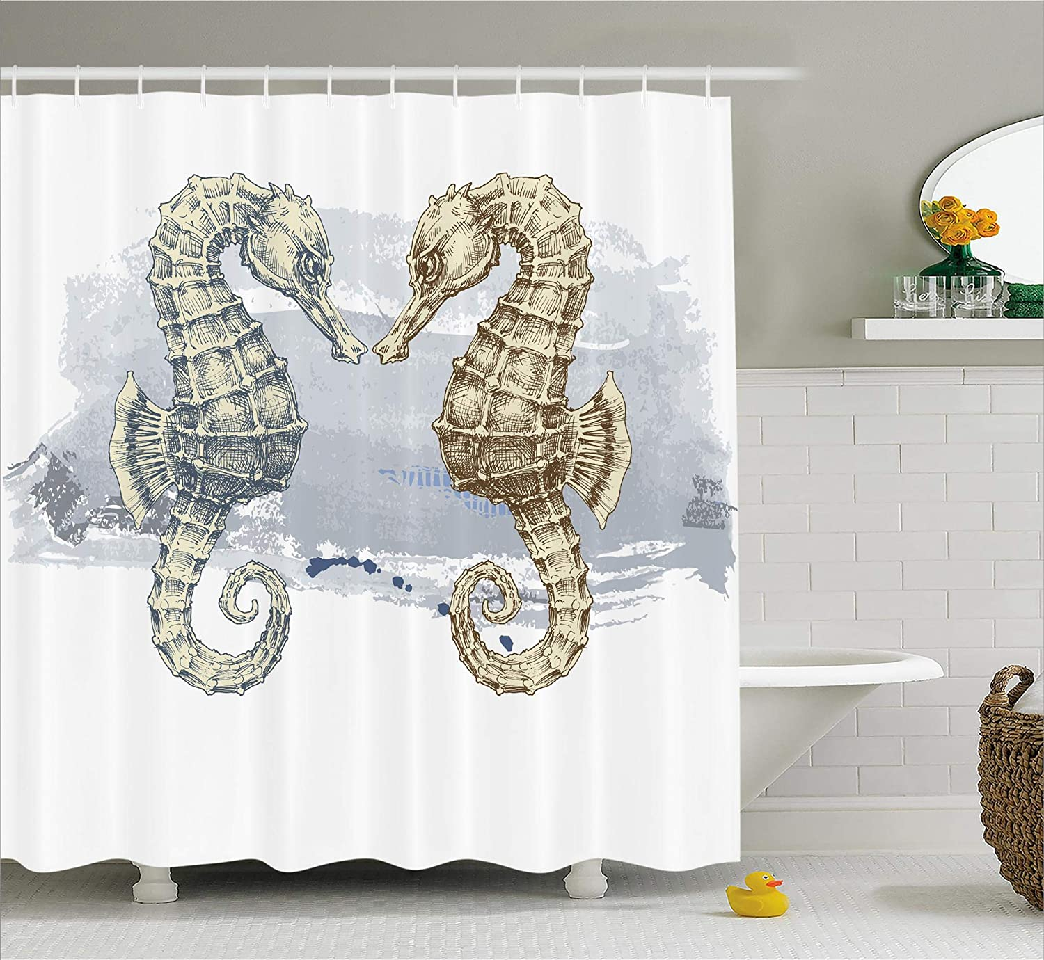 Ambesonne Shower Curtain Collection, Ocean Decor Fall Wooden Bridge Seasons Lake House Nature Country Rustic Home Art Paintings Pictures for Bathroom Seascape Decorations, Brown Beige Khaki Yellow sc_0749