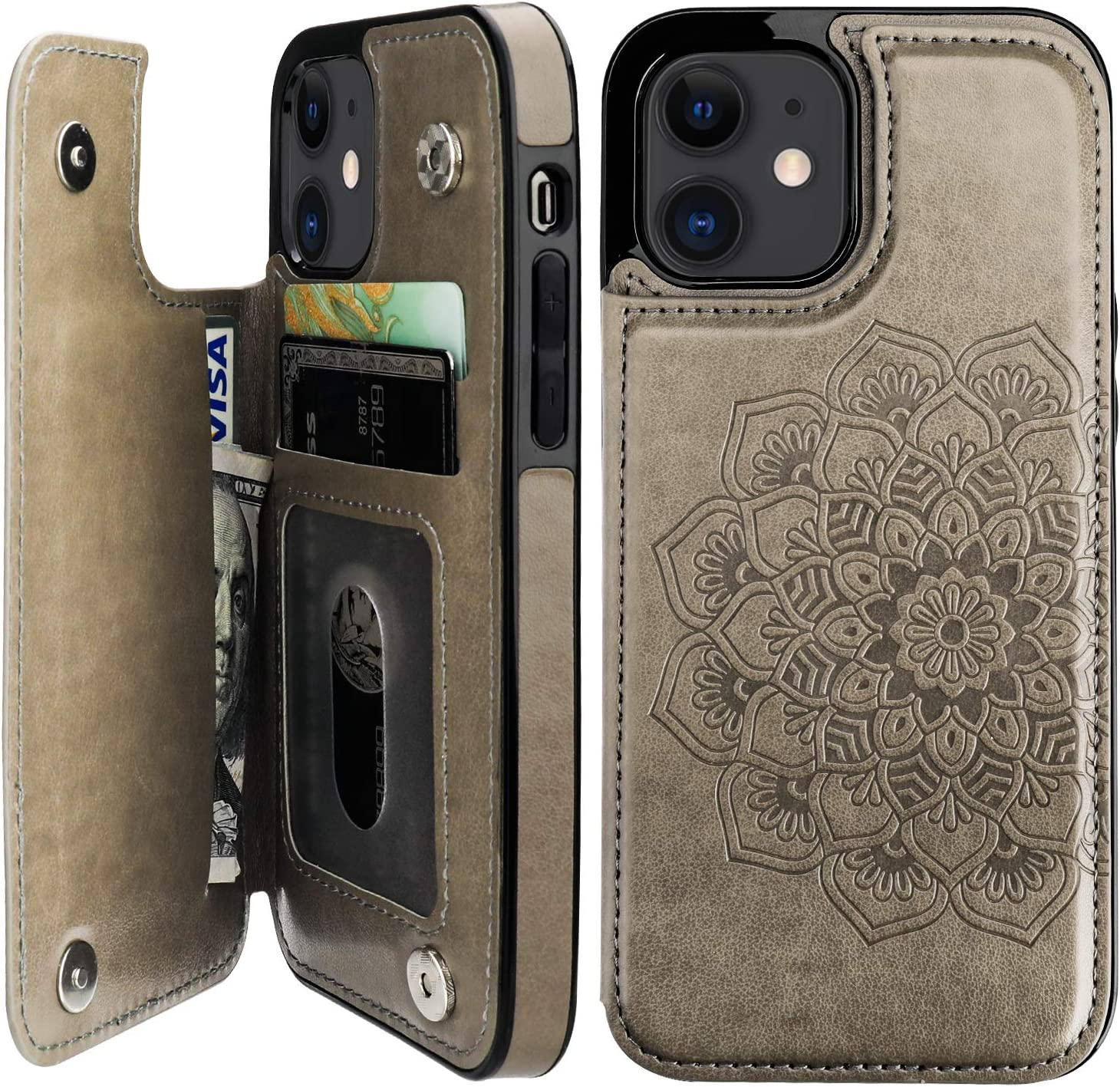 Vaburs Compatible with iPhone 12 and iPhone 12 Pro Case Wallet with Card Holder,Embossed Mandala Pattern Flower PU Leather Double Magnetic Buttons Flip Shockproof Protective Cover 6.1 Inch(Gray)
