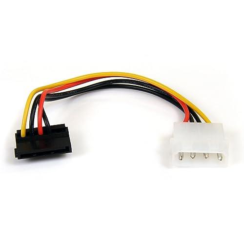 STARTECH.COM 6in 4 Pin Molex to Right Angle SATA Power Cable Adapter - LP4 to SATA - 6in Molex to SATA Cable - 4 pin to SATA