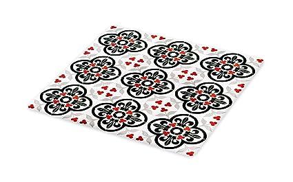 Amazoncom Lunarable Folk Cutting Board Ceramic Tile Design - Ceramic tile cutting boards