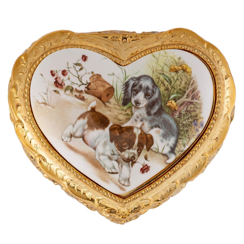 【期間限定お試し価格】 Playful Playful Puppies B07R5474CG ゴールドストーンハート型メタルオルゴール プレイメモリ B07R5474CG, 早い者勝ち:d2bf3c1a --- arcego.dominiotemporario.com