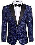 Modfine Men's Casual Slim Fit Floral Party Dress Suit Stylish Dinner Jacket Wedding Blazer