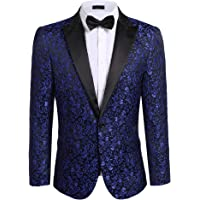 Modfine Men's Casual Slim Fit Floral Party Dress Suit Stylish Dinner Jacket Wedding Blazer