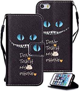 Etubby iPhone SE Case, iPhone 5s Case, iPhone 5s Wallet Case, [Wallet Stand] PU Leather Wallet Flip Protective Case with Card Slots and Wrist Strap for Apple iPhone SE & iPhone 5 5s - Cheshire Cat