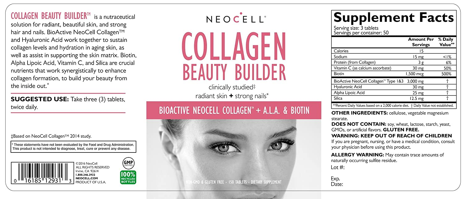 Neocell, Collagen Beauty Builder, 150 Tablets by Neocell: Amazon.es: Salud y cuidado personal
