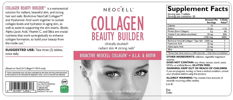 Neocell, Collagen Beauty Builder, 150 Tablets by Neocell: Amazon.es: Salud y cuidado personal