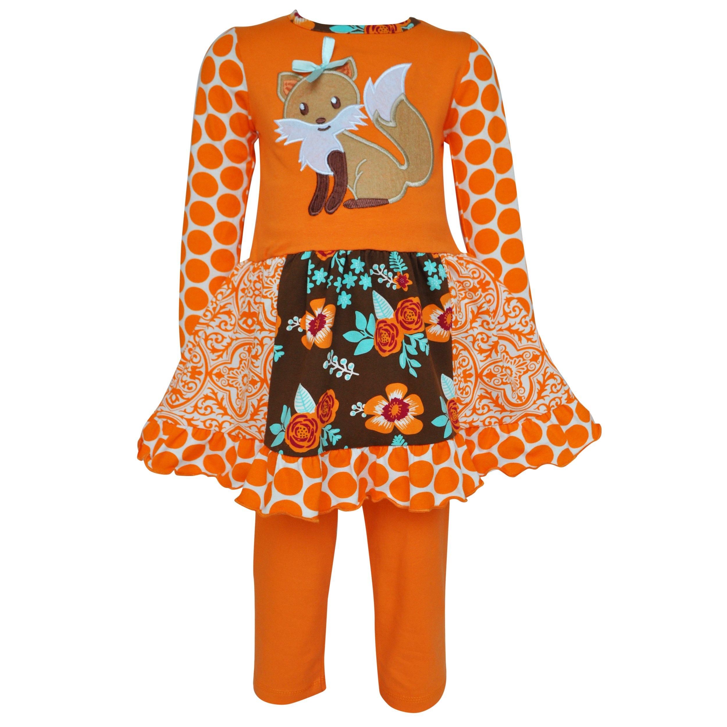 AnnLoren Little Girls 6/6X Boutique Foxy Floral Dress and Legging Clothing Set