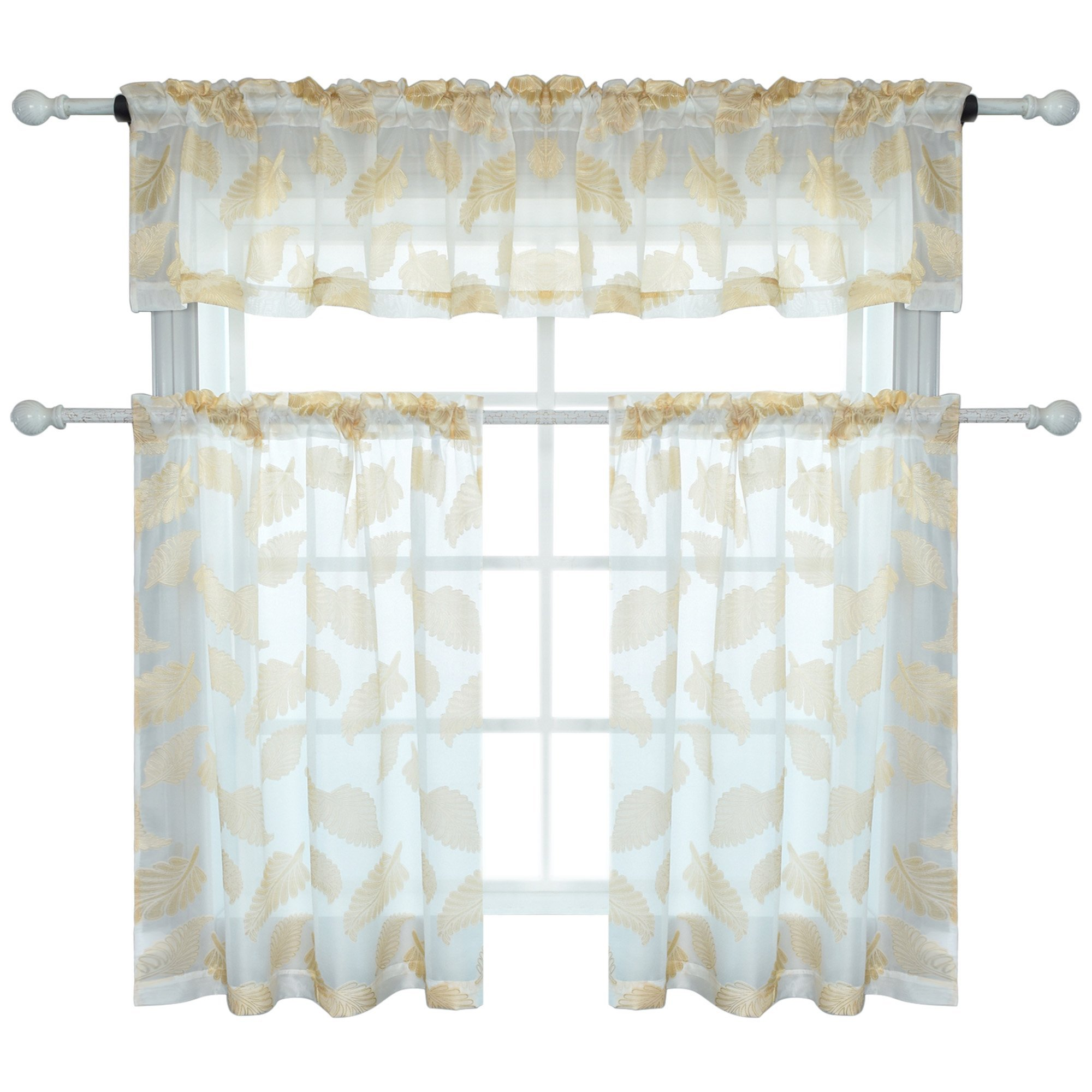 KEQIAOSUOCAI 3 Pieces Yellow Jacquard Voile Rod Pocket Window Kitchen Semi Sheer Curtain with Leaves Embroidery 1 Panel Valance and 2 Tier Panels