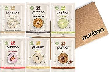 Purition vegana Caja de muestras de batidos de proteínas (6 x 40g). Batido para el desayuno