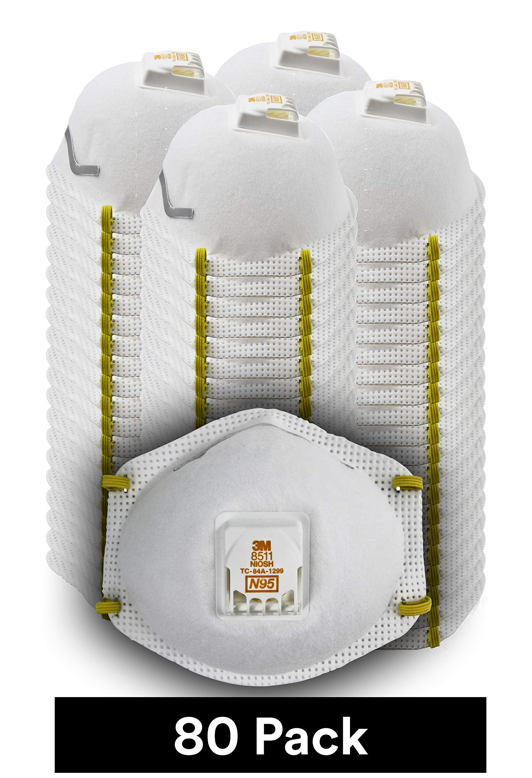 3M 8511 Particulate Disposable Respirator, N95, Grinding, Sanding, Sawing, Sweeping, Dust, Smoke, 80/Pack