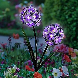 Exhart Solar Hydrangea Garden Stake – Purple Hydrangea Balls w/ 34 LED Lights - Hydrangea Flowers Metal Stake, Metal Hydrangea Decor Lights, Solar Hydrangea Garden Stake, 3.9
