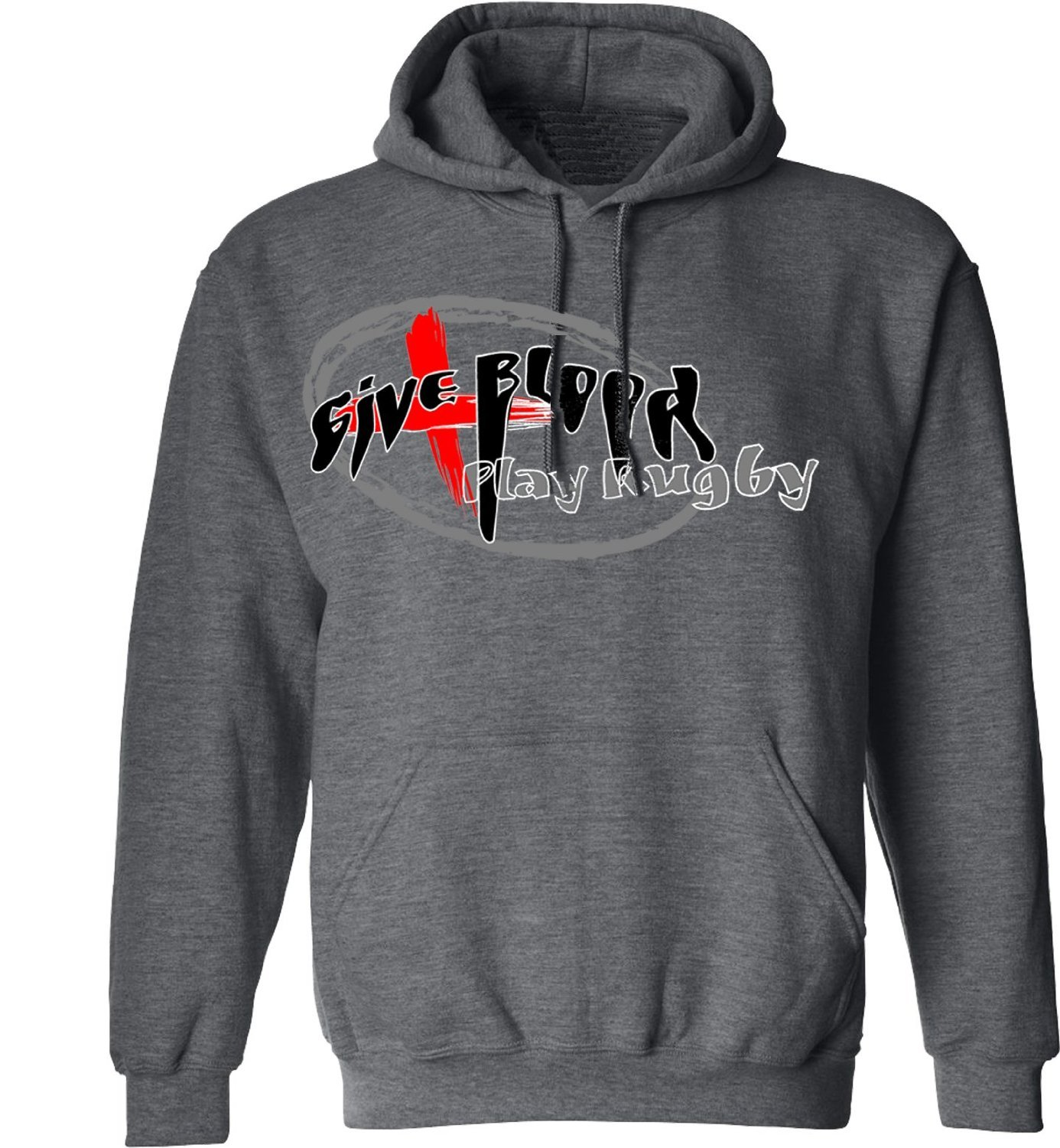 Give blood play rugby Hoody B00HGWFT9C  Large