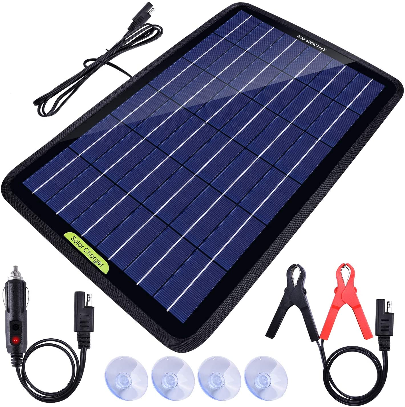 ECO WORTHY 12 Volts 10 Watts Portable Power Solar Panel Battery Charger Backup for Car Boat with Alligator clip adapter, Black