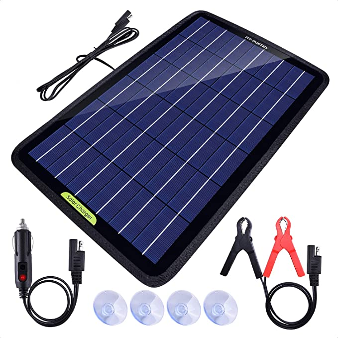 ECO-WORTHY 12 Volt 10 Watt Solar Panel Trickle Charge for Car, RV, Boat, Automotive, Motorcycle