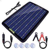 Eco-Worthy Draagbare acculader met zonnepaneel, 12 V, 10 watt, back-up voor auto, boot, met krokodilklem-adapter