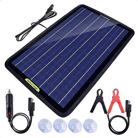 ECO-WORTHY 12 voltios 10 vatios panel solar portátil cargador de batería para coche barco con adaptador de pinza de cocodrilo.