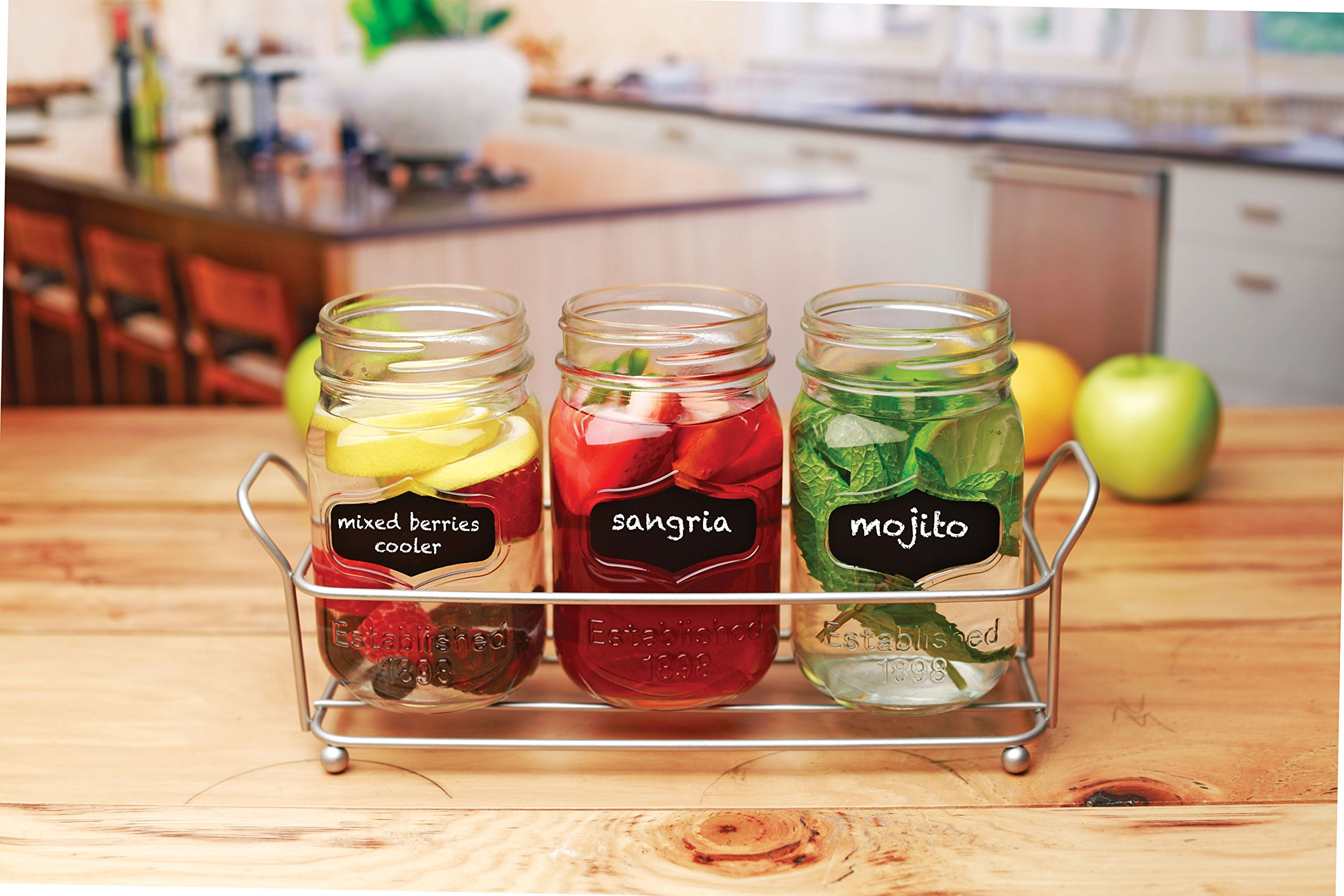 3-pc Mason Jar Flatware Caddies - 17 Oz. Vintage Clear Glass Utensil Organizer with Black Chalk Label on Metal Caddy with Handles - Lightweight Space-Saver Home and Party Drinkware Set by Emenest (Image #3)