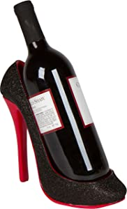 "Hilarious Home 8.5"" x 7""H High Heel Wine Bottle Holder - Stylish Conversation Starter Wine Rack (Black)"