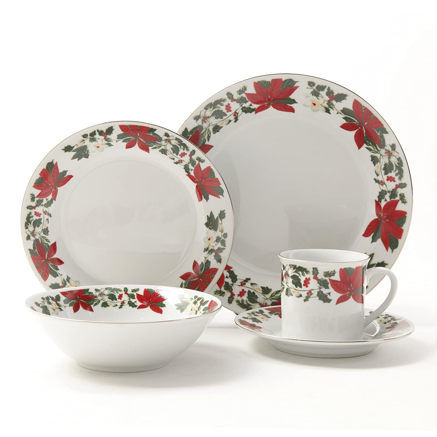 Gibson Poinsettia Holiday Dinnerware Set 20-Piece Gibson is a third generation company initiated by our grandfather. Then our father Nejat Gabbay ...  sc 1 st  Flowers Wikii & Poinsettia Dinnerware Sets - Flowers Wikii