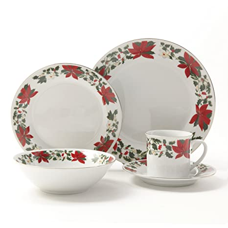 Gibson Poinsettia Holiday Dinnerware Set 20-Piece  sc 1 st  Amazon.com & Amazon.com: Gibson Poinsettia Holiday Dinnerware Set 20-Piece ...