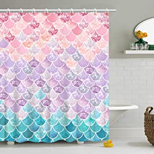 Shower Curtain 3D Mermaid Scales, Lilac Purple Pink Blue Ocean Theme, Bathroom Bedroom Wall Decor as Tapestry and Photo Booth Backdrop 72 inch