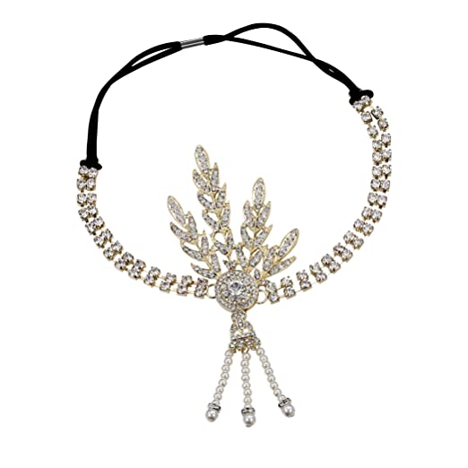 Vintage Inspired Halloween Costumes Gold 1920s Flapper Great Gatsby Inspired Leaf Medallion Pearl Headpiece Headband (Gold) $10.99 AT vintagedancer.com
