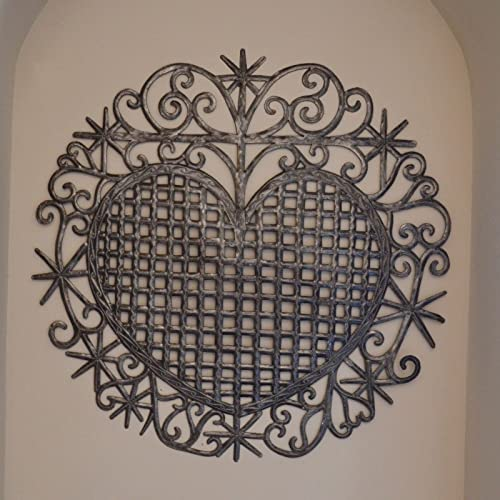 Heart,Traditional Haiti Symbol, Erzulie Veve, Recycled Metal Wall Art 23 x 22.5 Inches