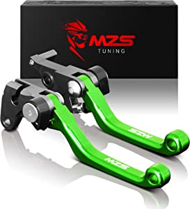 MZS Pivot Levers Brake Clutch CNC Compatible with Kawasaki KX65 2000-2019/ KX85 2001-2019/ KX100 2001-2019/ KX125 2000-2005/ KX250 2000-2004/ KX250F 2004 (Green)