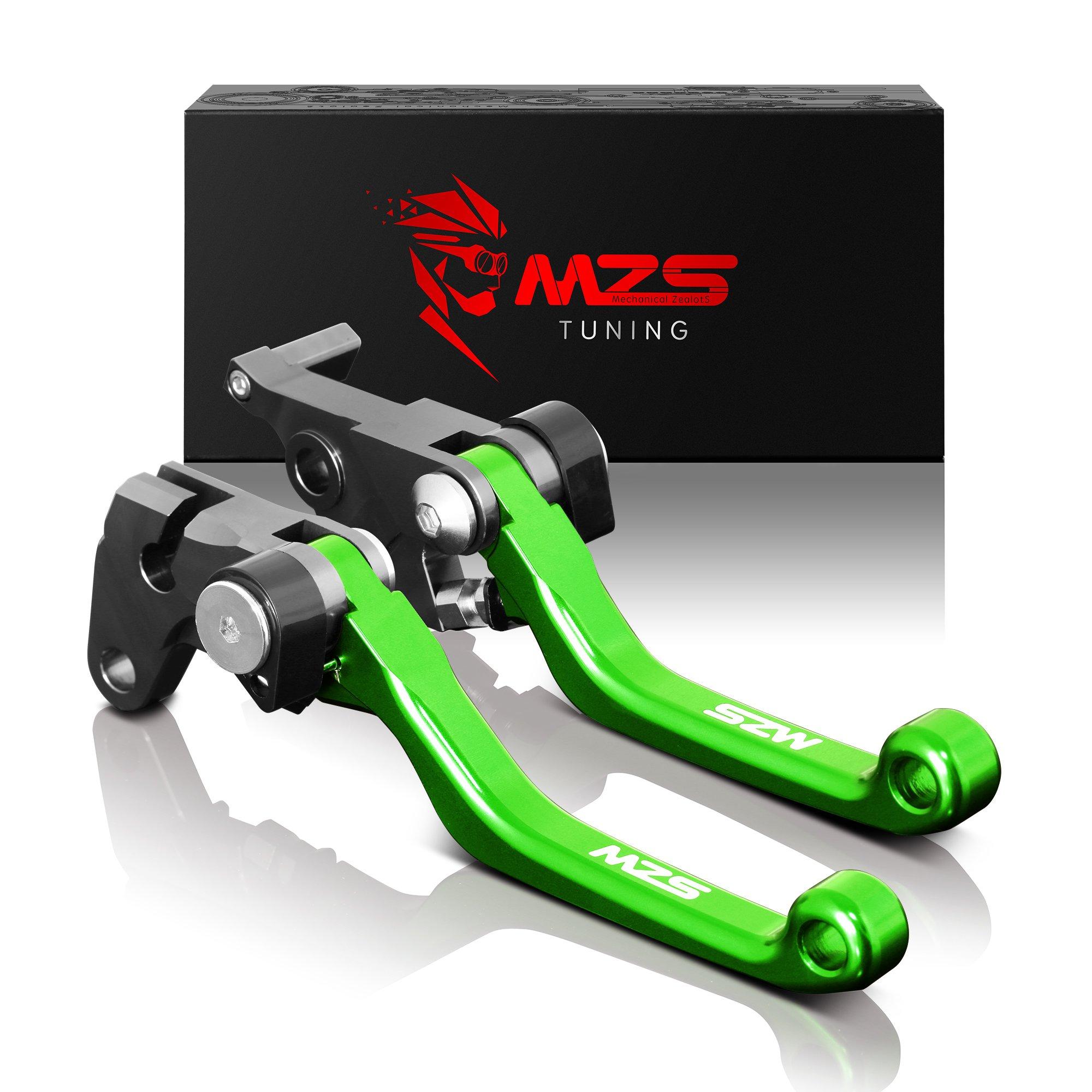MZS Pivot Levers Brake Clutch CNC for Kawasaki KX65 2000-2019/ KX85 2001-2019/ KX100 2001-2019/ KX125 2000-2005/ KX250 2000-2004/ KX250F 2004 (Green)