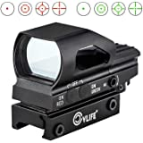 CVLIFE Red & Green Dot Sight 4 Reticles Reflex Sight ON & Off Switch with 20mm Rail Mount