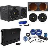 "(2) Kicker 44CWCD154 CompC 15"" 2400W Subwoofers+Box+MB Quart Amplifier+Amp Kit"