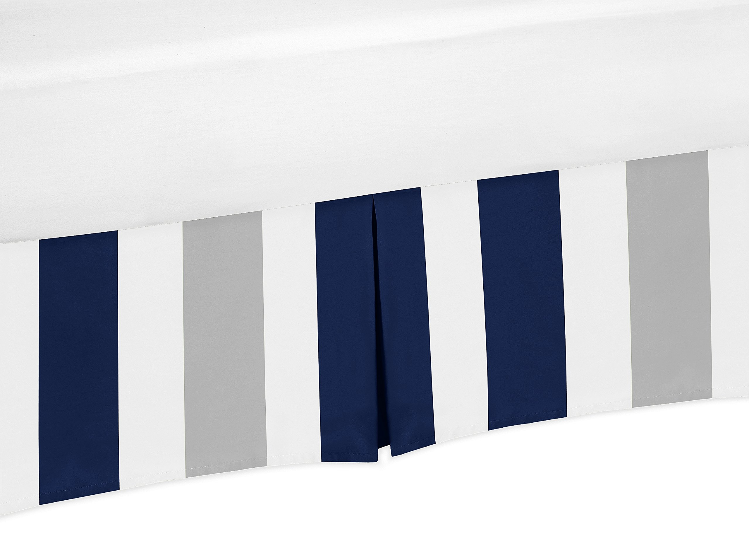 Sweet Jojo Designs Navy Blue, Grey and White Crib Bed Skirt Dust Ruffle for Boys Stripe Collection Baby Bedding Sets