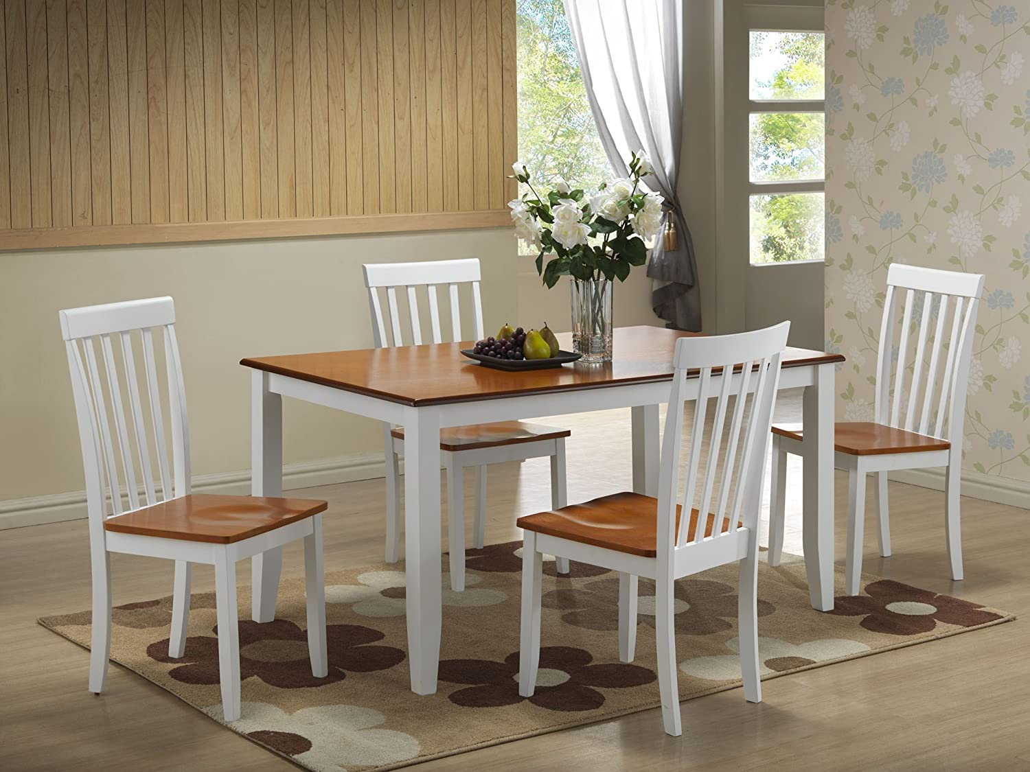 Amazon.com - Boraam 22033 Bloomington 5-Piece Dining Set, White ...