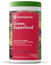 Amazing Grass Green Superfood Organic Powder with Wheat Grass and Greens, Flavor: Berry,  60 Servings, 17 Ounces